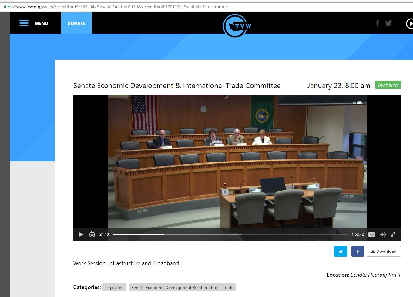 Screen shot of WA Senate Hearing -Broadcast