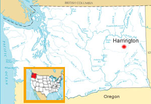 Outline map of WA State with Harrington pinpointed in eastern WA.