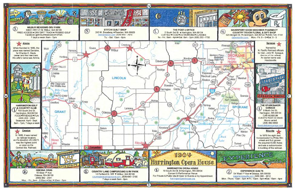 Country Back Roads and Small Towns Map