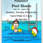 Harrington Pool Hours - Mon, Tues, Thurs: Open 12 - 6 pm, Wed - Open 2 -5, Adult 5 - 6:30 pm