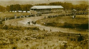 historic photo of horse race at Pioneer Picnic Grounds