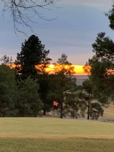 Golf Course with setting sun