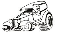 Cartoon truck with bear driver and flat tire