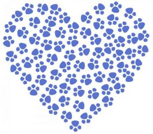 Paw prints filling a heart shape