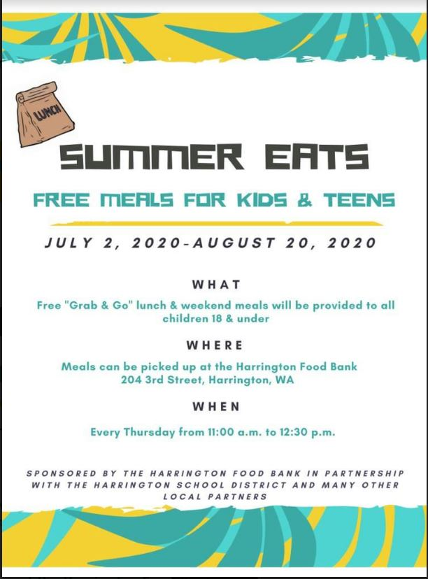 Harrington Meal program for kids and teens - July-Aug. 2020