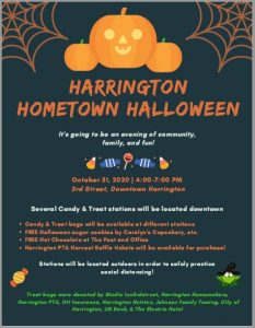 Harrington Hometown Halloween - 4- 7 pm Oct 31 2020 - Downtown Harrington