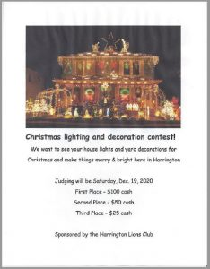 Harrington Christmas Lighting Contest - Judging will be Dec 19, 2020
