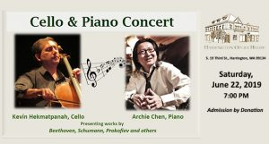 Kevin Kekmatpanah, Cello and Archie Chen, Piano at the Harrington Opera House, June 22nd - 7 PM