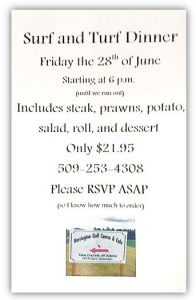 Surf-n-Turf- at the Harrington Golf Course & Cafe - June 28, 2019 - starting at 6 - $21.95