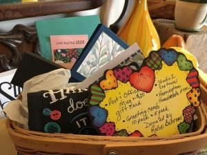 basket of misc. note cards for raffle