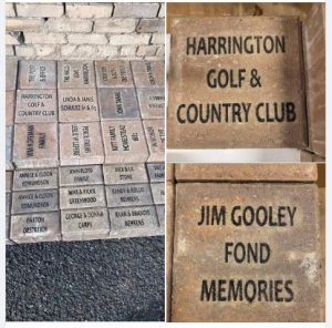 Examples of engraved pavers for the Harrington Town Square project